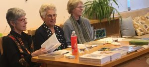 At the Corrales Community Library event for International Women's Month. From left, Phyllis M Skoy, Hilda Raz and Lynn Miller.