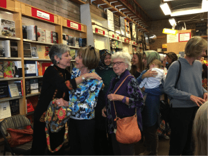 The author with her neighbors and friends at the Bookworks launch