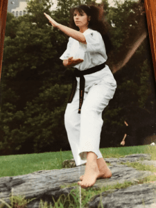 The author in Central Park (New York City) after receiving her shodan.