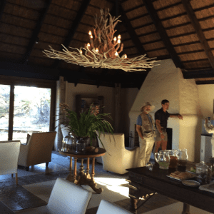 Arthur and our guide at the 3 p.m. tea, served daily in the bush, on safari in South Africa. (PHOTO BY AUTHOR)