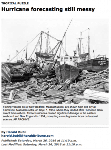 A screen capture from the archive of the Herald-Tribune in New Bedford, Mass., shows the devastation of Hurricane Carol in 1954.