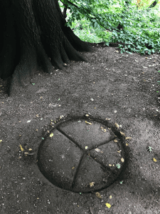 A peace sign in Central Park